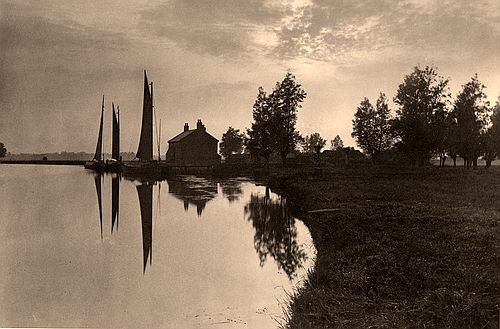 Cantley: Wherries Waiting for the Turn of the Tide (1886) - Peter Henry Emerson