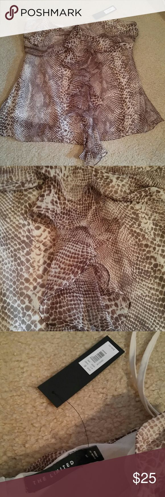 "The Limited Brown Cream Bandeau Blouse Sz 6 The Limited Brown & Cream snake print design, Bandeau strapless Blouse. Ruffled down the front.  Sz 6. New with tag. Zips up the side. 100% silk lined with 100% polyester. Armpit to armpit 15"". The Limited Tops Blouses"