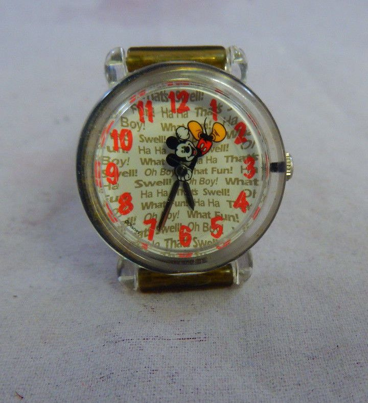 Vintage Mickey Mouse Watch MU003 Rotating Mickey Seconds Hand Red No Quartz Runs #MickeyMouse