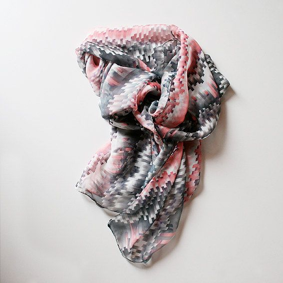 Modern and cute silk scarf. by MisBaratijas on Etsy