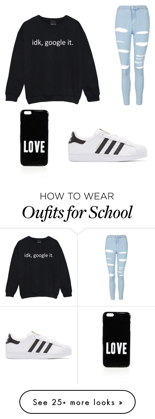 """""""School Outfit"""" by chloegabrielleeee on Polyvore featuring Topshop, adidas Originals and Givenchy"""