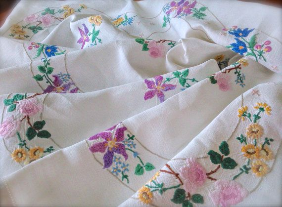 Check out this item in my Etsy shop https://www.etsy.com/uk/listing/500184322/hand-embroidered-clematis-vintage-linen