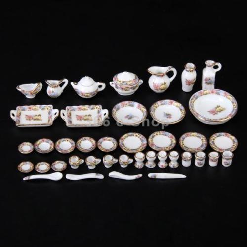 40pz - Minatura Tea Set Piastra Piatto Tazza Fiori in Porcellane Casa Bambole