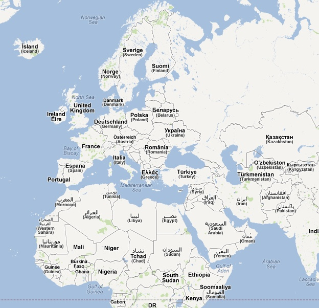 Map of the World - Romanian Map