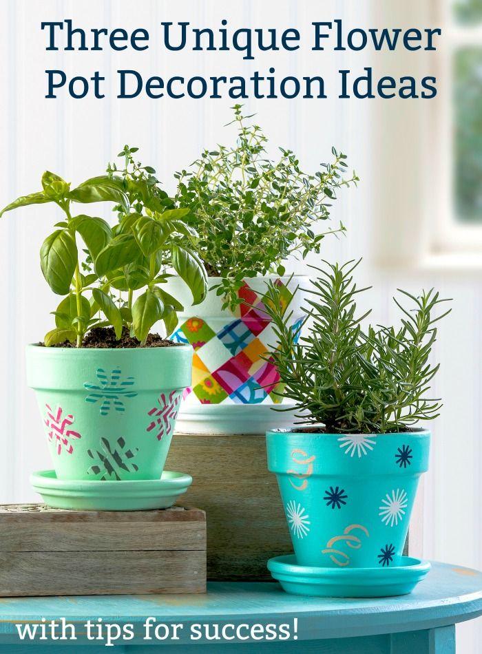 Three Unique Flower Pot Decoration Ideas Mod Podge Mod Melts