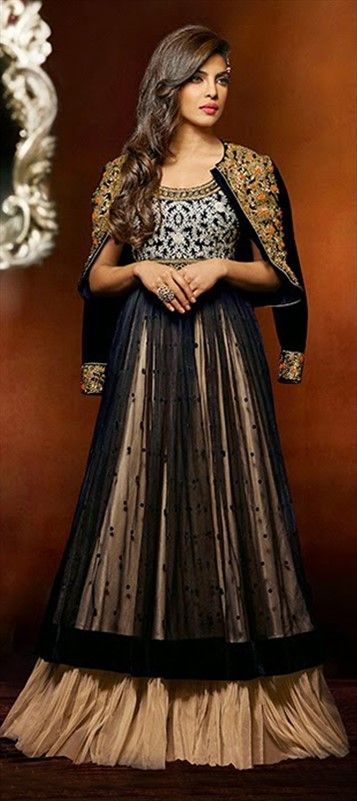 420984, Bollywood Salwar Kameez, Net, Velvet, Stone, Machine Embroidery, Resham, Black and Grey, Beige and Brown Color Family