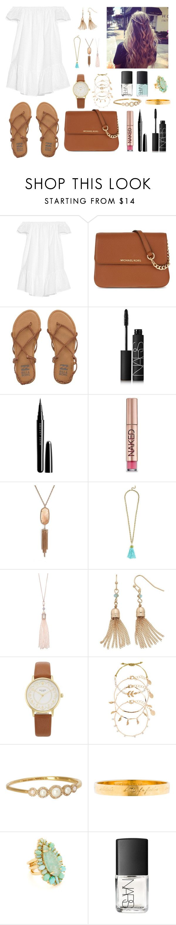 """""""Untitled #190"""" by katymccord77 ❤ liked on Polyvore featuring Elizabeth and James, MICHAEL Michael Kors, Billabong, NARS Cosmetics, Marc Jacobs, Urban Decay, Kendra Scott, BaubleBar, Oasis and LC Lauren Conrad"""