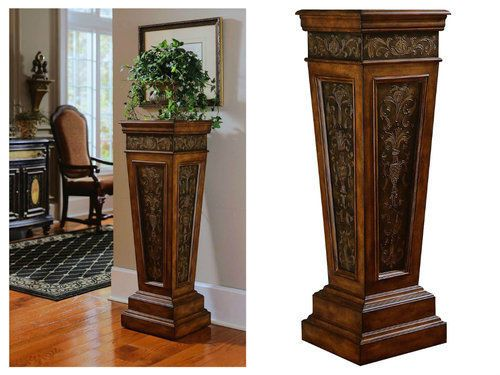 Indoor-Plant-Stand-Pedestal-Accent-Table-Display-Tall-Wood-Metal-Entryway-Pillar