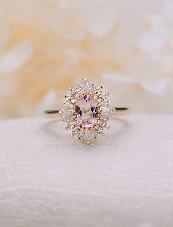 Morganite Engagement Ring Vintage Art Deco Oval Unique Engagement Ring Yellow Gold Women's Halo Multi