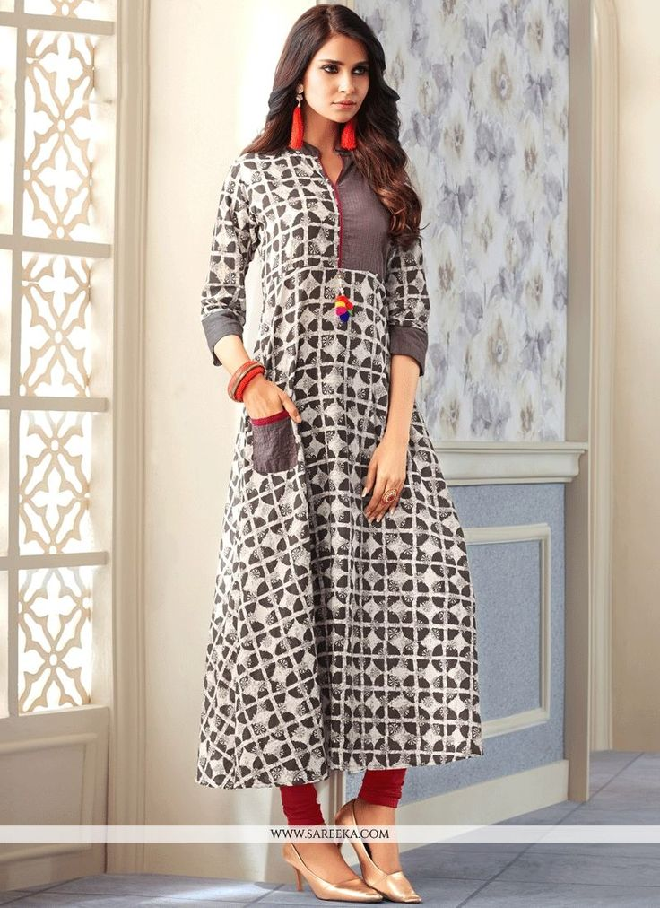 Authentic beauty can come out of your dressing style with this grey cotton   party wear kurti. The print work appears to be like chic and great for party. (Slight variation in color, fabric & work is ...