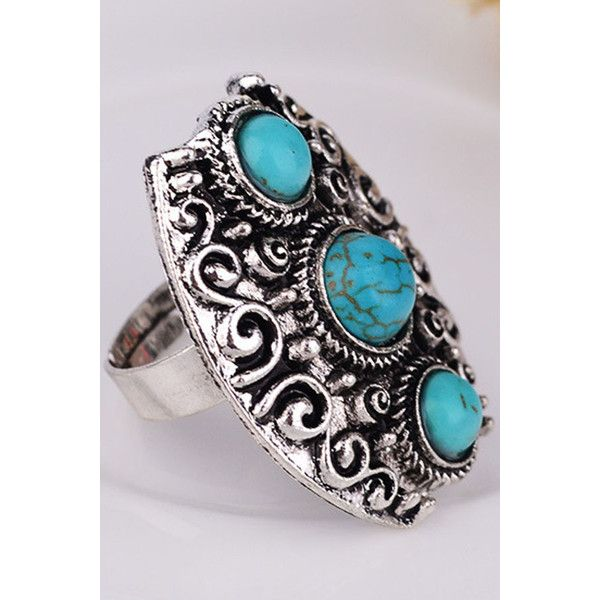 Turquoise Decor Carved Retro Ring ($6.59) ❤ liked on Polyvore featuring jewelry, rings, retro rings, heart shaped rings, vintage retro jewelry, vintage jewelry and vintage turquoise jewelry