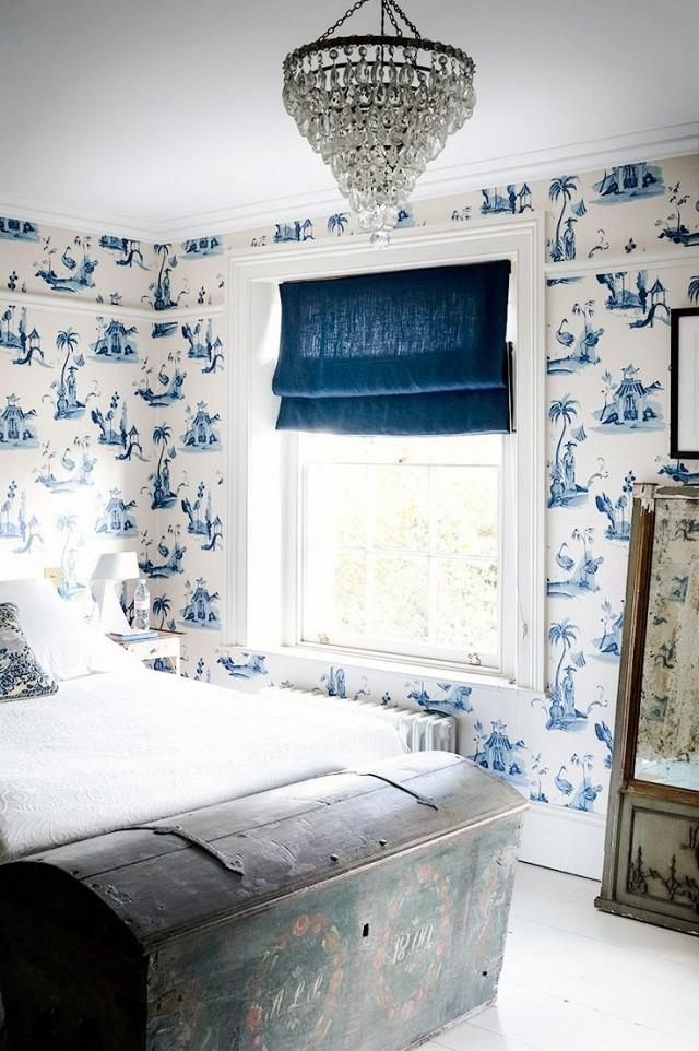 Nothing Packs Quite As Much Punch As Wallpaper. This Tranquil Blue And  White Print Adds