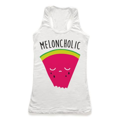"""Meloncholic Watermelon - Show off your melancholic feels but in food pun fashion with this """"Meloncholic"""" watermelon design! Perfect for feeling that summertime sadness, melancholy, sad food, watermelon puns, and watermelon humor!"""