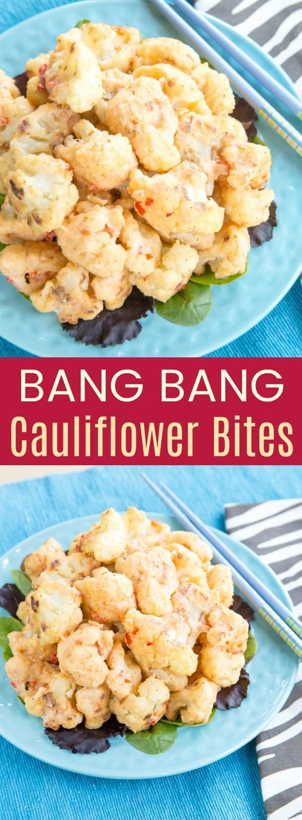 Bang Bang Cauliflower Bites - a sweet and spicy veggie version of a restaurant copycat recipe. These Asian-inspired bites are an addictive appetizer or vegetable side dish. #cupcakesandkalechips #cauliflower #cauliflowerbites #vegetarian #glutenfree #appetizer #appetizerrecipe #copycatrecipe