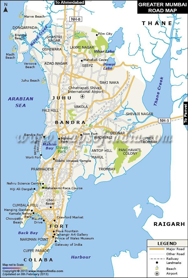 Road Map of Greater Mumbai