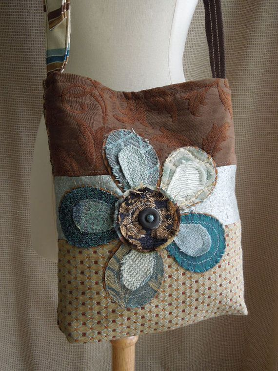 CROSSBODY HOBO BAG - Recycled Upholstery Fabric - Bohemian - Shabby Chic - Appliqued - Eco Friendly on Etsy, $58.00
