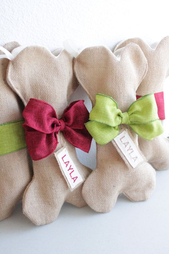 DOG / PET Christmas Stocking Unique burlap by ChristmasClaude - now comes in pink too!