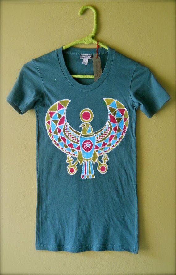 Horus batik t shirt yoga hand painted & hand dyed  by BAGANUS, $49.00