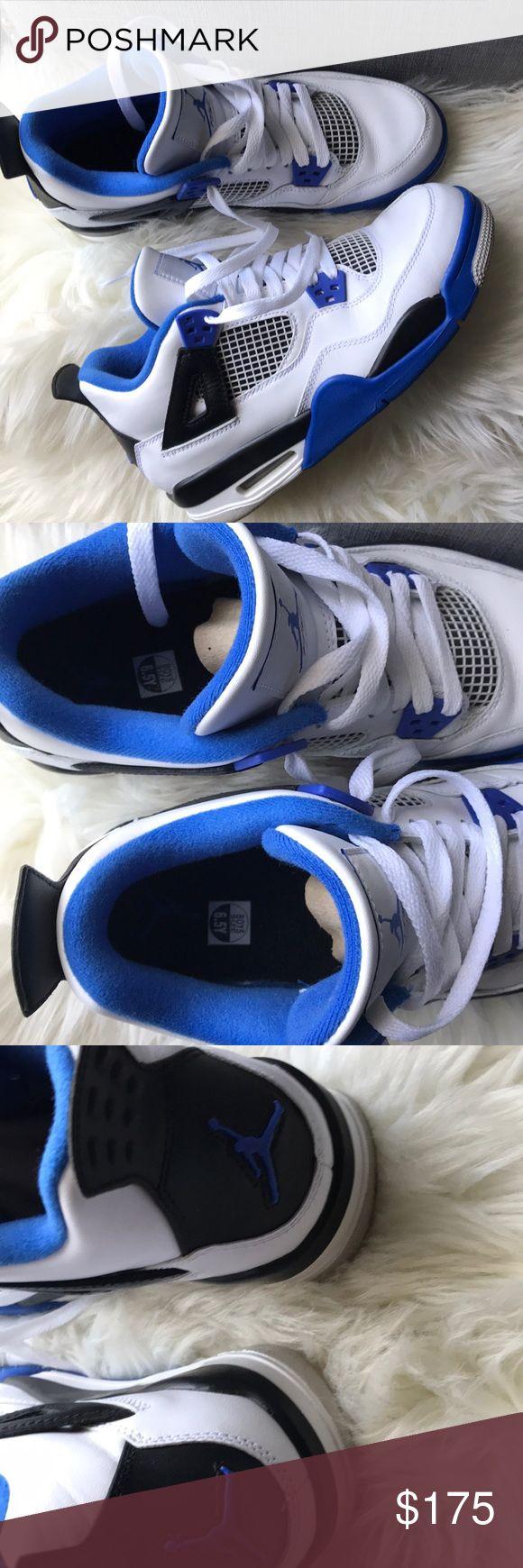Jordan retro 4 white blue black shoes without box. Size 6