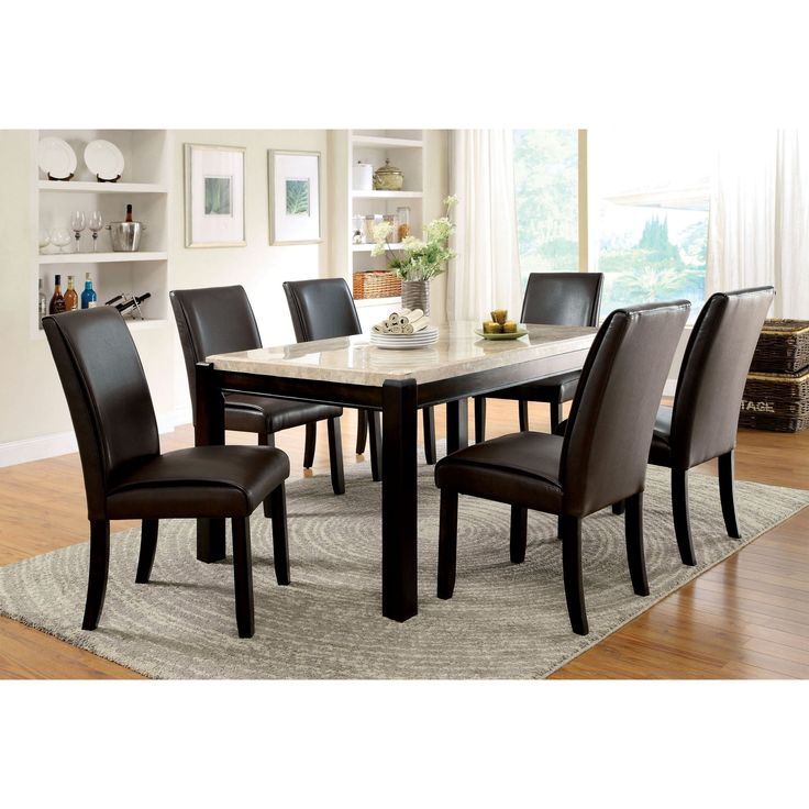 Furniture of America Friedrich Modern 7 Piece Marble Dining Table Set - IDF-3823T-7PC