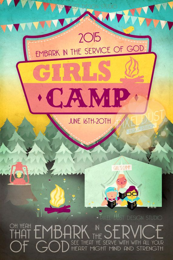 Customized LDS Girls Camp Poster, invitation, manual cover, book cover, handouts