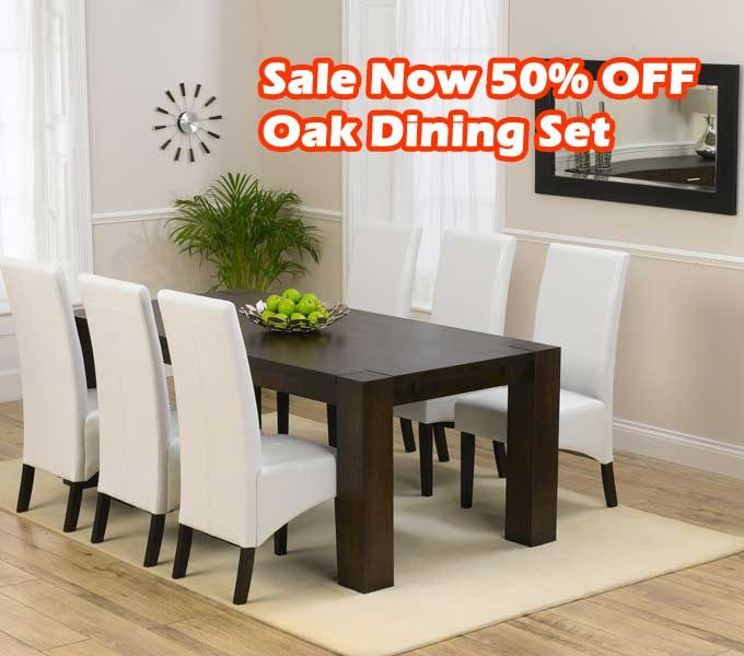 BIG SALE 50 PERCENT OFF Madrid 200cm Dark Solid Oak Dining Table With Dakota Chairs
