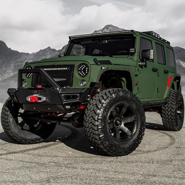 Badass Army Green Jeep ! Follow @world_around_billionaires @world_around_billionaires Built by @starwoodmotors ______________________________________ #jeep #jeepwrangler #offroading #4x4 #jeeplife #jeepporn #liftedlife #lifted #badass #motors #wicked #instacar #cool #photooftheday #beast #armygreen # # #lifted #monster #beast #jeeps #wrangler