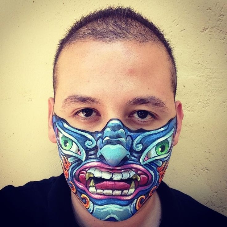 18 best pentatones face tattoo real or fake images on for Face mask tattoo