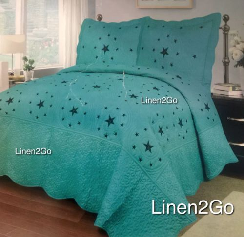 3pc-Texas-Star-Western-Design-Quilt-BedSpread-Comforter-embroidery-not-printed