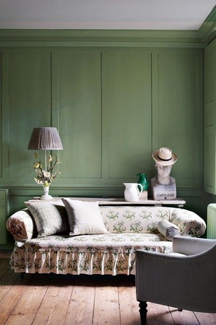 Olive Green Living Room in Breakfast Room Green on HOUSE,  Green Paint ideas. Go green! Virescent bedrooms, living spaces, hallways and bathrooms.
