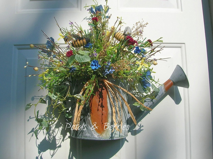 door #wreath alternatives - recycled #watering can