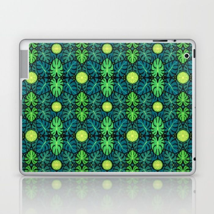 Buy Monstera leaves, floral pattern, black, green & turquoise Laptop & iPad Skin by clipsocallipso. Worldwide shipping available at Society6.com. Just one of millions of high quality products available.