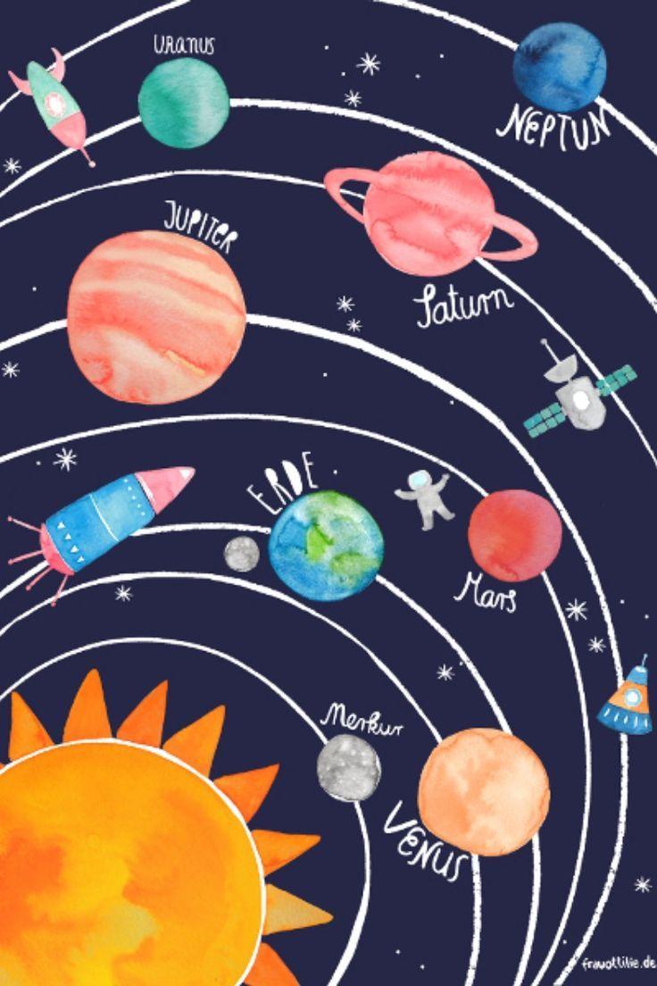 Poster Sonnensystem Von Frau Ottilie Fondos Frau Ottilie Poster Sonnensystem Von Solar System Poster Planet Poster Planet Drawing
