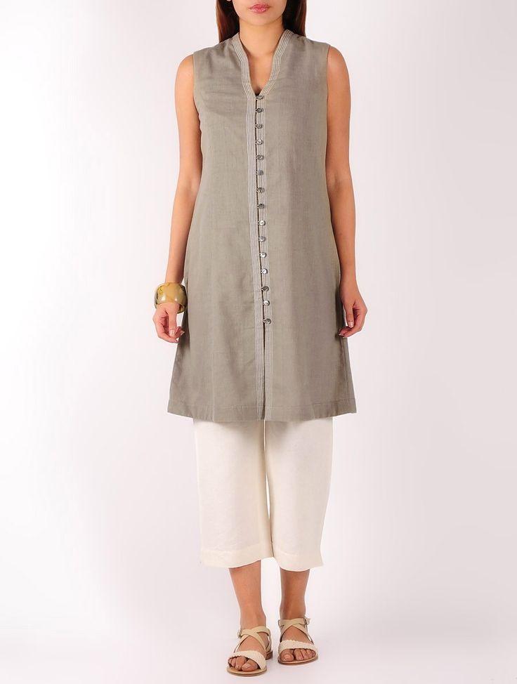 Buy Olive Stitch Detailed Khadi Tunic Online at Jaypore.com