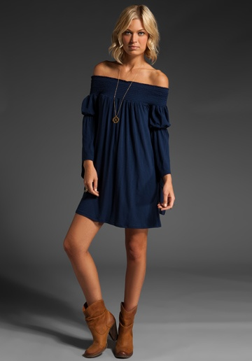 JAMES & JOY Aubrey Off Shoulder Dress in Navy at Revolve Clothing - Free Shipping!