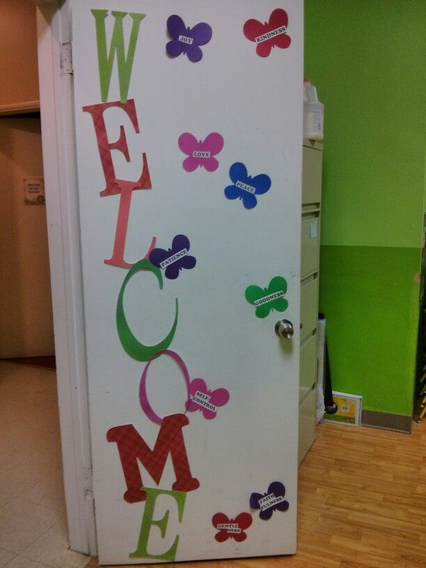 Fall Classroom Decorations Ideas ~ Diy welcome door decor with fruits of the spirit for
