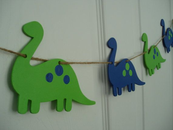 Painted Wooden Dinosaur Banner Wooden Dinosaur by ThePinkShrimp
