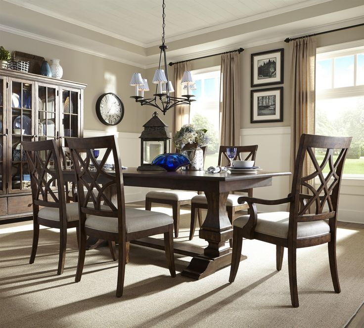 Shop For The Trisha Yearwood Home Collection By Klaussner Trestle Table And Chairs Set At Royal Furniture