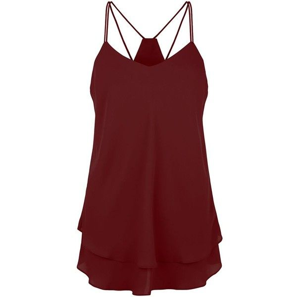 Tall Burgundy Double Strap Layered Cami ($20) ❤ liked on Polyvore featuring tops, shirts, tank tops, tanks, burgundy, v neck cami, v neck camisole, camisoles & tank tops, layering tank tops and burgundy shirt