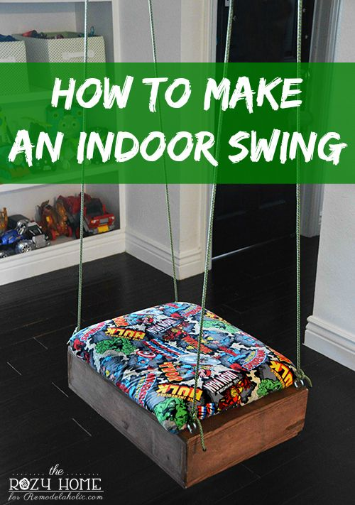 Build an easy-to-make indoor swing to keep the kiddos entertained and active even when they can't be outside! Perfect for a basement playroom or rec room.