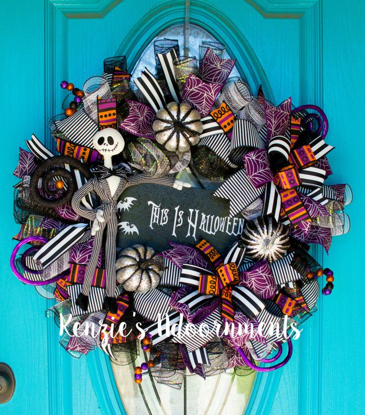 Jack skellington wreath jack skellington decor halloween - Jack skellington decorations halloween ...