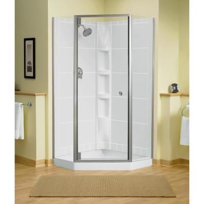 Sterling Solitare 29 7 16 In X 72 1 4 In Neo Angle Shower Door In Nickel With Hand Neo Angle Shower Enclosures Neo Angle Shower Corner Shower Doors