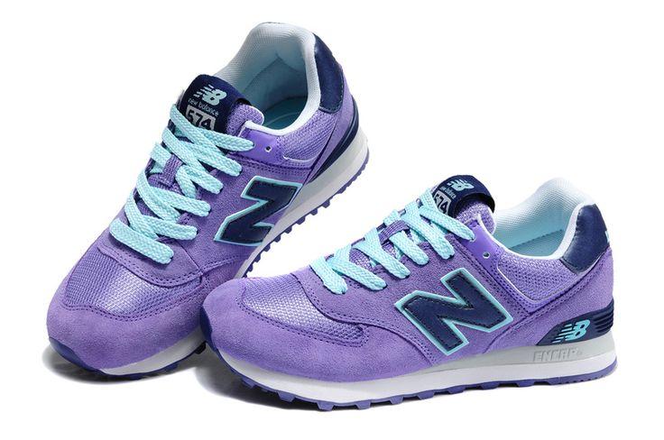High Grade New Arrival New Balance 574 Women Light Purple Blue Running Shoes Store