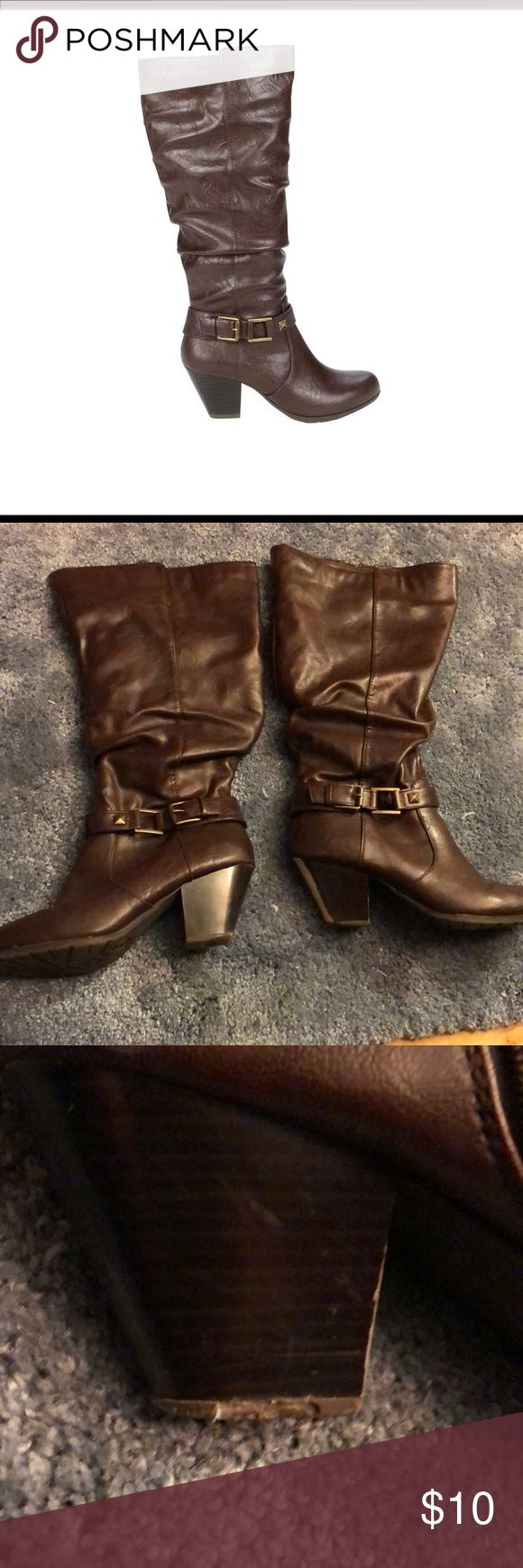 Bongo Wide Mid Calf Boots Used Bongo Brown Jorie Mid/wide calf boots. There is some flaws on the heels and bottom of the boots which is typical from wear. I pictured all of the flaws that they have BONGO Shoes Heeled Boots