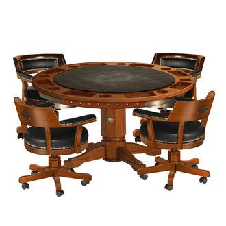 Harley Davidson Poker Table and Chairs Set Heritage Brown Finish HDL-13300-H Beautiful North American hardwood Harley Davidson Poker Table with reversible,