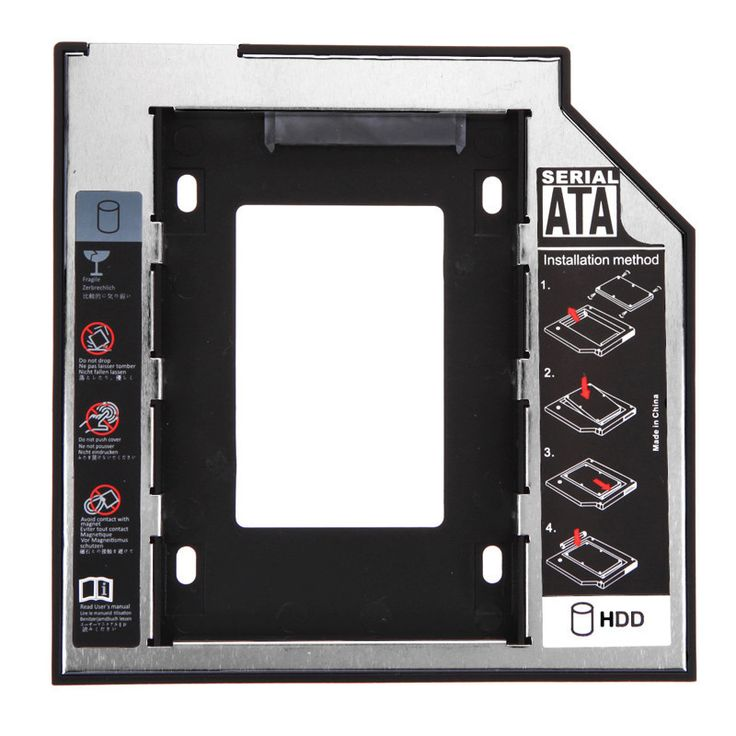 "Universal 2.5 2nd 12.7mm Ssd Hd SATA Hard Disk Drive HDD Caddy Adapter Bay FOR 2.5"" SATA hard drive/CD-ROM for 12.7mm SATA-bit"