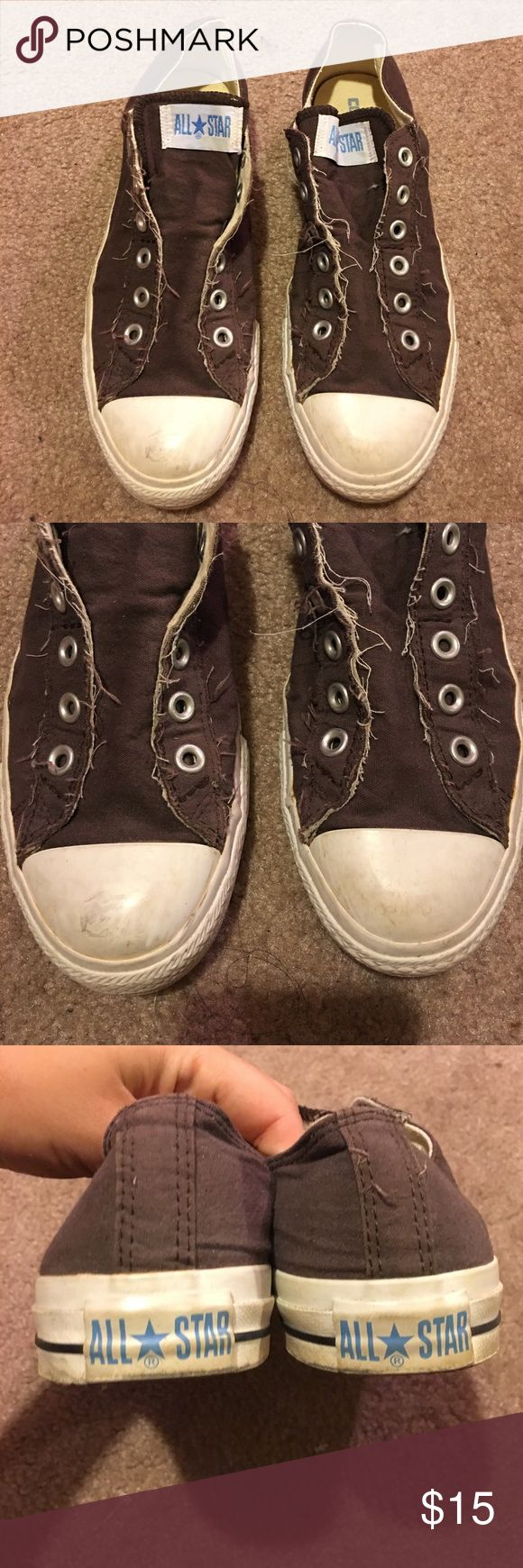 Size 9 pair of brown converse Women's size 9 pair of brown stringless converse. Has a little wear to them as shown but in still good condition! Converse Shoes Sneakers