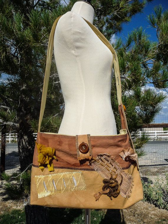 Boho Hippie Style Cross Shoulder Bag - Eco Dyed Bag - Handmade Bag - Naturally Hand dyed Bag - Festival Bag - One of a Kind Bag