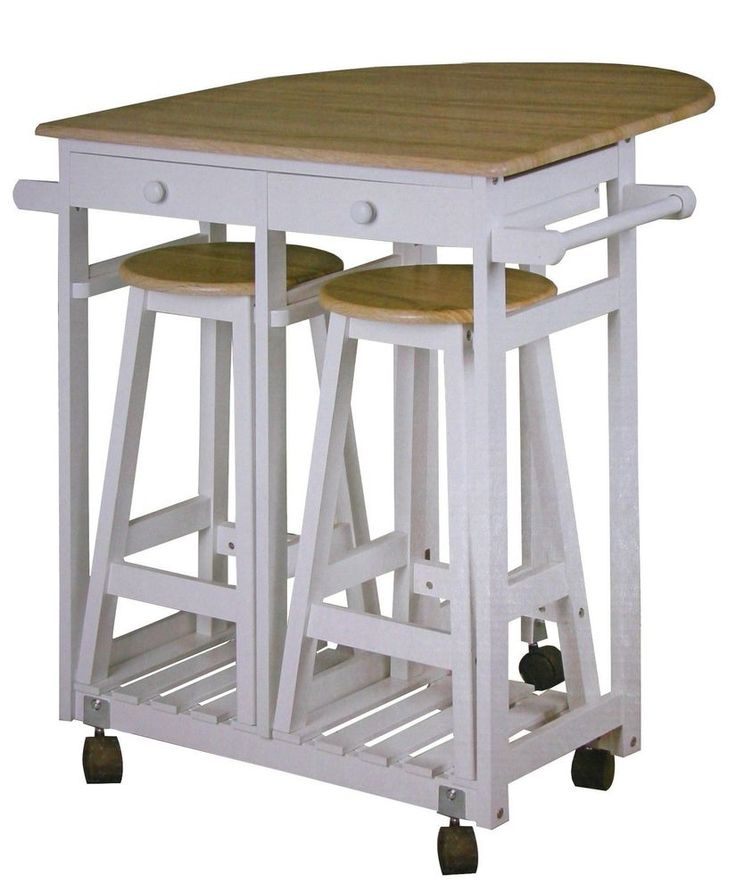 Küchenbar auf Rollen + 2 Hocker Küchentisch Tresen Tisch Sitzgruppe Küche Bar