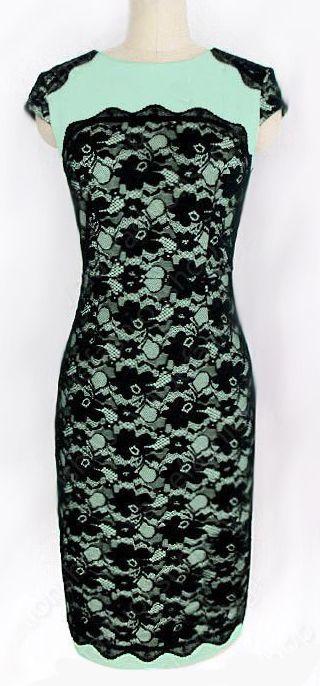 Mint lace pencil dress